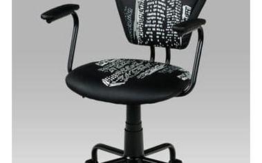 Kancelářská židle KA-T242 BK - koženka s potiskem