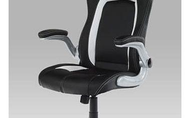 Kancelářská židle KA-E430 BK - koženka černá-bílá