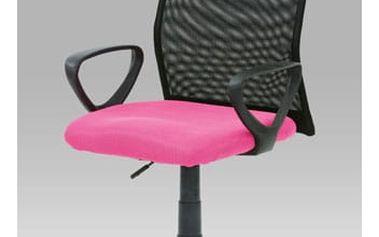 Kancelářská židle KA-B047 PINK - látka růžová/černá