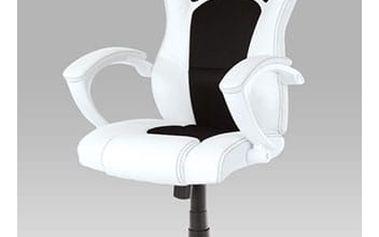 Kancelářská židle, koženka bílá/mesh černá