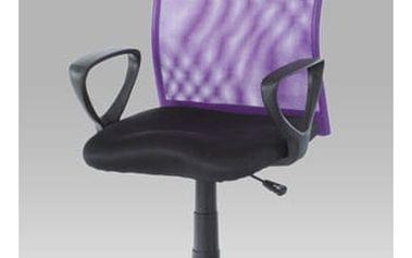 Kancelářská židle KA-BERT PUR - látka MESH černá/látka MESH fialová