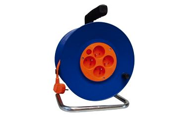 Kabel prodlužovací na bubnu EMOS 4x zásuvka, 50m (DG-4ZR-F04) modrý