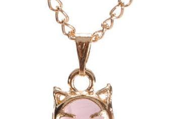 Řetízek s přívěskem kočky v růžové barvě - dodání do 2 dnů