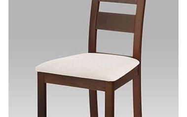 Jídelní židle masiv buk, barva ořech, potah světlý