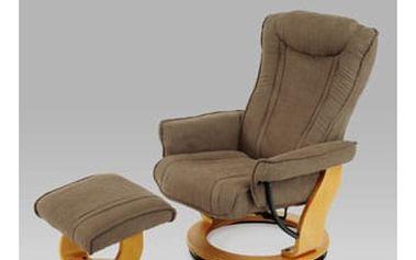 Relaxační křeslo s taburetem TV-6048 BR2 - olše/látka sv. hnědá