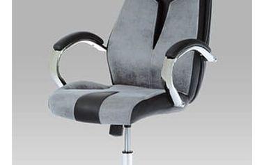Kancelářská židle KA-E520 GREY - šedá alcantara/koženka černá