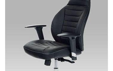 Kancelářská židle KA-T215 BK - chrom/koženka černá