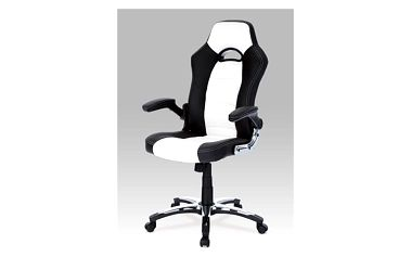 Kancelářská židle KA-N238 WTB - bílo-černá koženka