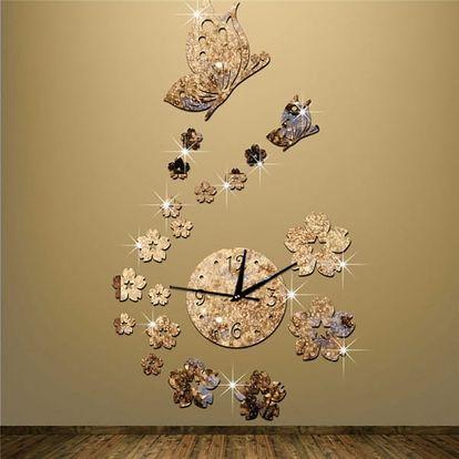 3D nástěnné hodiny s květy a motýlky
