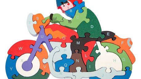 Dřevěné dětské puzzle pro rozvoj jemné motoriky Motorka