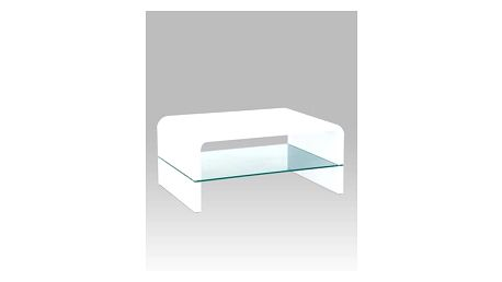 Konferenční stolek AHG-010 WT 90x60 cm - sklo/bílý