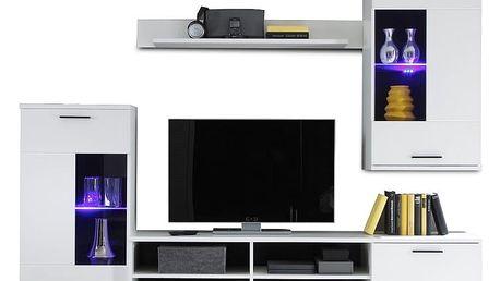 Obývací stěna, s osvětlením, bílá/čiré sklo, FRONTAL 1