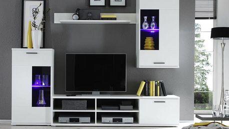 Tempo Kondela | Obývací stěna, s osvětlením, bílá/čiré sklo, FRONTAL 1