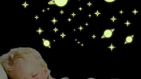Svítící samolepka - měsíc, hvězdy, planety