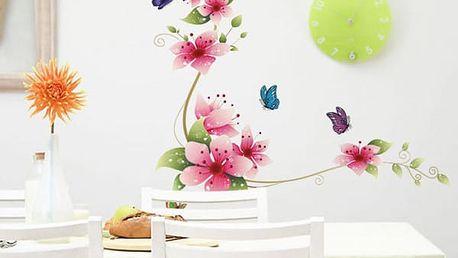 Samolepka na zeď - Růžové květy
