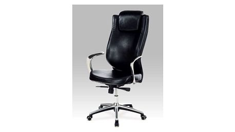 Kancelářská židle, koženka černá, synchronní mechanisus, alu kříž