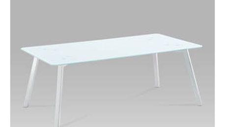 Konferenční stolek GCT-530 WT 120x65x45 cm - bílé sklo/chrom