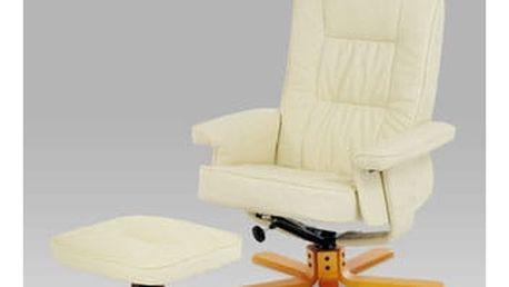 Relaxační křeslo s taburetem, koženka krémová / olše