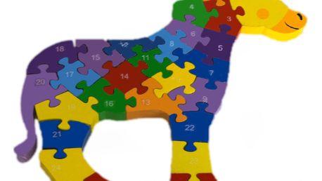 Dřevěné dětské puzzle pro rozvoj jemné motoriky Kůň