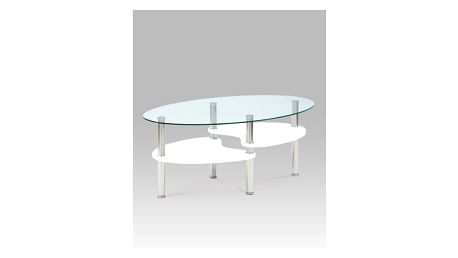 Konferenční stolek AF-2007 WT, čiré sklo / bílá