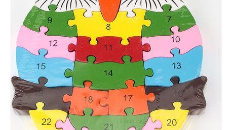 Dřevěné dětské puzzle pro rozvoj jemné motoriky Sova