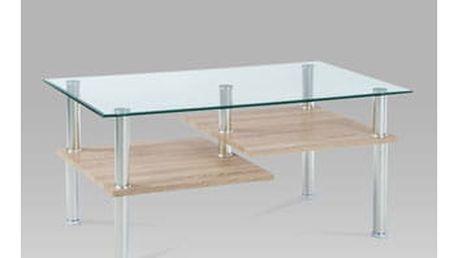 Konferenční stolek GCT-307 SON 90x54,5x42 cm - čiré sklo/sonoma/chrom