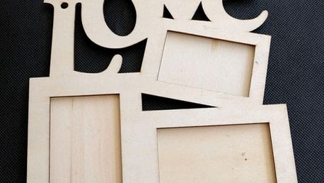 Dřevěné rámečky s nápisem LOVE