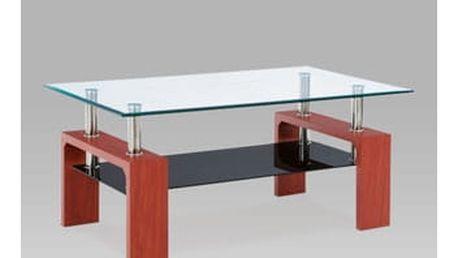 Konferenční stolek AF-1022 TR2 100x60x45 cm - třešeň/čiré sklo/černá police