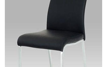 Jídelní židle WE-5084 BK - crhom/koženka černá