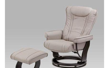 Relaxační křeslo s taburetem, černá / koženka lanýžová