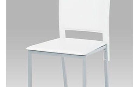 Jídelní židle DCL-245 WT - koženka bílá/šedý lak