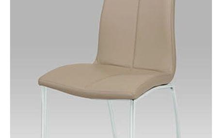 Jídelní židle DCL-577 CAP - chrom/koženka cappuccino