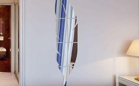 Zrcadlo na zeď ve tvaru pírka
