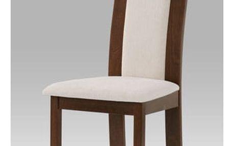 Jídelní židle BC-3921 barva ořech, potah krémový