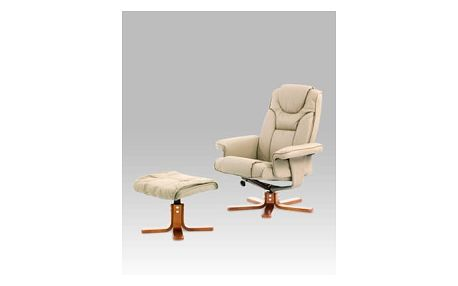 Relaxační křeslo s taburetem, koženka cappuccino/mahagon