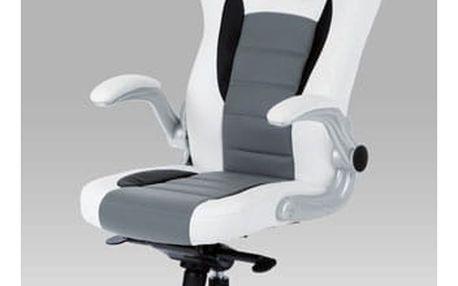 Kancelářská židle KA-E240B WT - bílo-šedá koženka