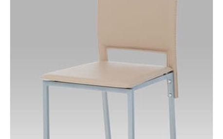 Jídelní židle DCL-245 CAP - koženka cappuccino/šedý lak