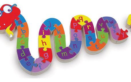 Dřevěné dětské puzzle pro rozvoj jemné motoriky had