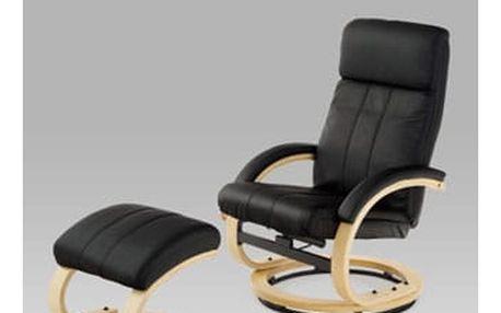 Relaxační křeslo s taburetem, koženka černá / natural