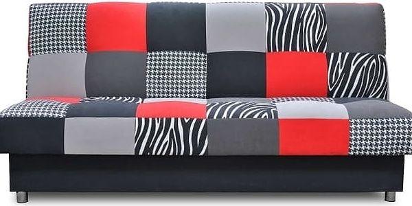 Rozkládací pohovka ALABAMA - červeno-černo-šedá