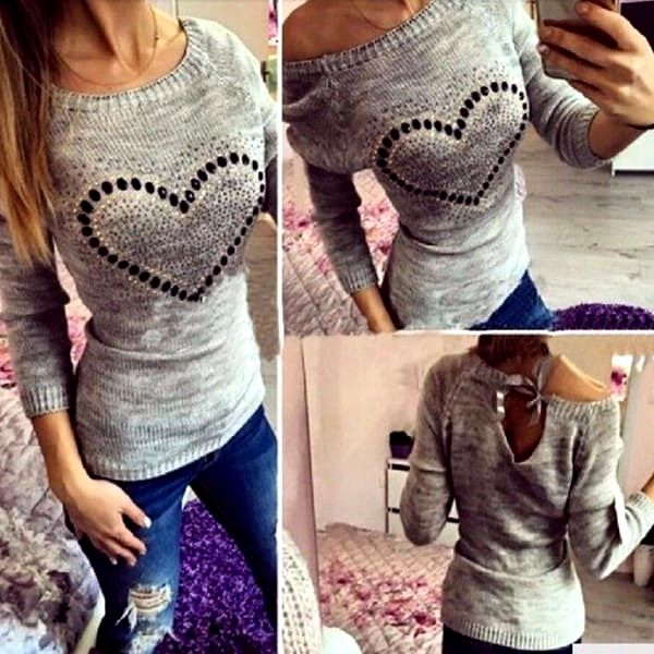 Luxusní pletený svetřík se srdíčkem - 4 barvy