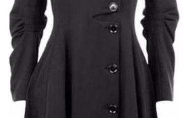 Dámský kabát s řasením - černá barva