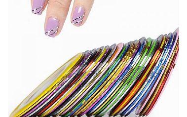 Barevné lepící pásky na nehty v různých barvách - 10 kusů