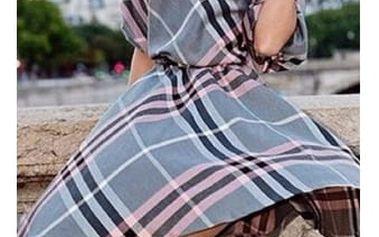Elegantní kostkované šaty