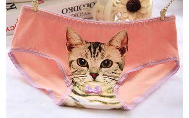 Dámské kalhotky s roztomilou kočičkou s motýlkem