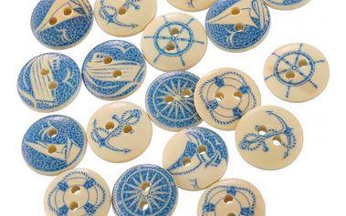 Dřevěné knoflíky s modrým námořním designem - sada 50 kusů