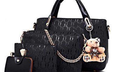 Sada dámské kabelky, taštiček a peněženky v různých barvách s roztomilým přívěškem