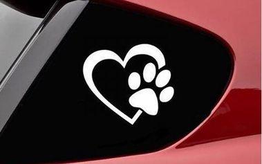 Samolepka na auto - Tlapka se srdcem