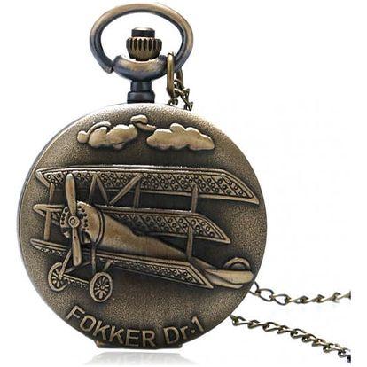 Kapesní retro hodinky - Letoun Fokker Dr.I - dodání do 2 dnů