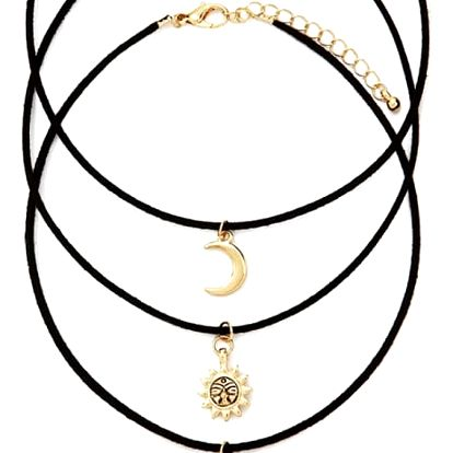 Dámský náhrdelník se sluncem, měsícem a hvězdou - 3 ks